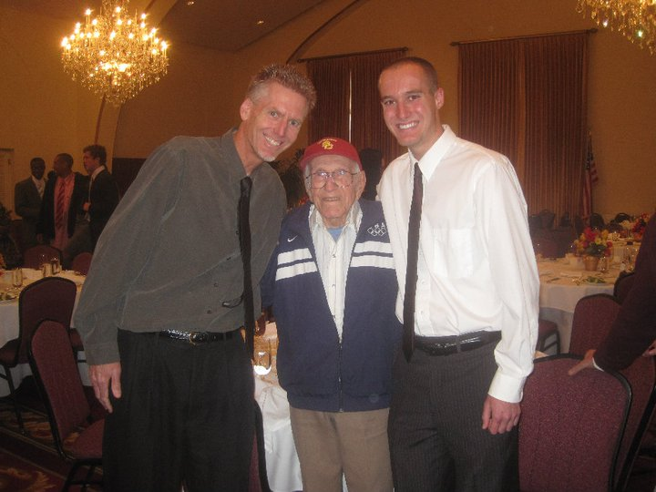 Louie Zamperini with my son Greg, a fellow Trojan distance runner, and me.
